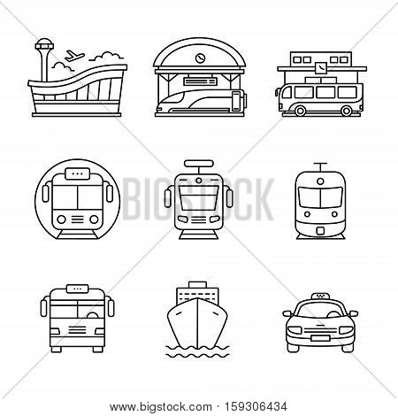 Modern transportation and urban infrastructure set. Road, rail and water city transportation stations signs. Thin line art icons. Linear style illustrations isolated on white.