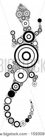 Vector black and white lizard. Aboriginal art lizard illustration.