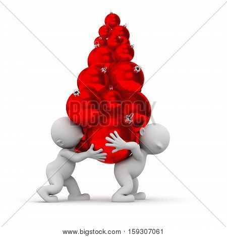 3d humans carrying christmas red balls decorations