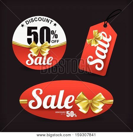 Collection red sale with gold ribbon tag banner promotion sale discount style vector illustration eps 10