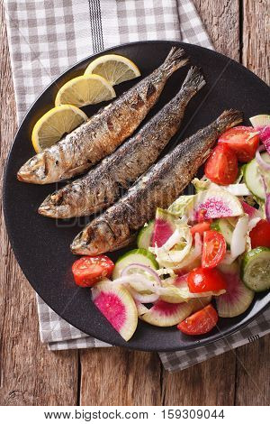 Grilled Sardines With A Salad Of Cucumber, Radish, Tomato, Onion Close-up. Vertical Top View
