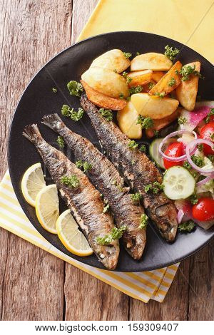 Fried Sardines With Potatoes And Fresh Vegetable Salad Close-up. Vertical Top View
