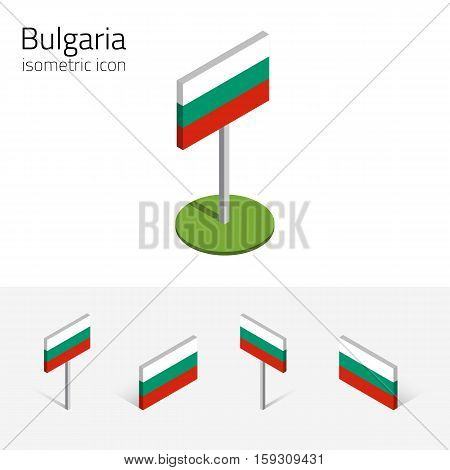Bulgarian flag (Republic of Bulgaria) vector set of isometric flat icons 3D style different views. 100% editable design elements for banner website presentation infographic poster map. Eps 10
