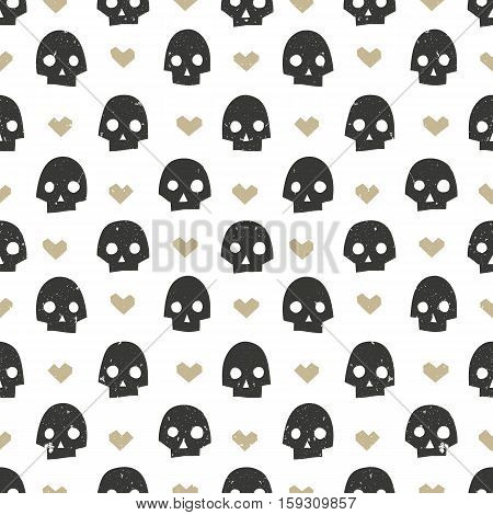 Seamless pattern with skulls and hearts. Modern abstract wallpaper. Hand drawn vector illustration EPS10.