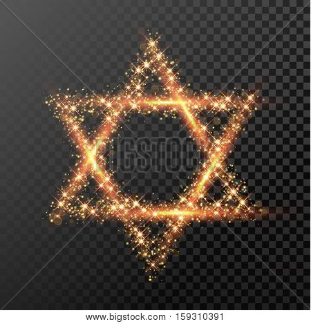 David Star of gold glittering lights. Happy Hanukkah Jewish festival holiday design element for greeting card. Glitter light sparkles. Glowing golden fire light