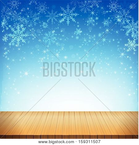 Christmas snowflake and starlight with wood floor abstract bakcground vector illustration eps10 001