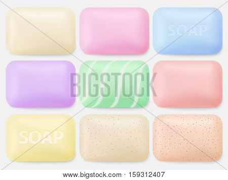 Soap vector. Soaps isolated on white. Collection of bathroom body hygiene items. Cream and scrub colorful soap bars collection. Realistic vector illustration for your design.