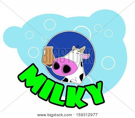 Cute cartoon cow badge . Cow holds jug on blue background. Vector illustration for packaging design for milk products