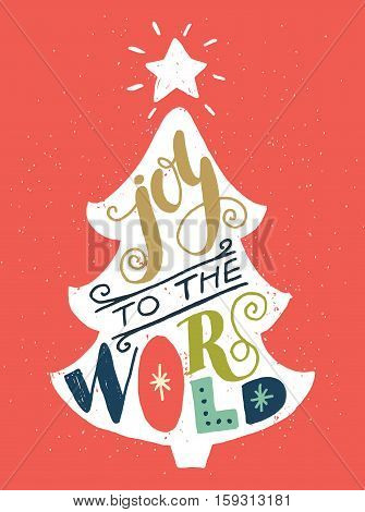Vintage Christmas tree silhouette with Joy to the world unique colorful hand lettering. Design elements perfect for xmas greeting and invitation cards flyers and posters.