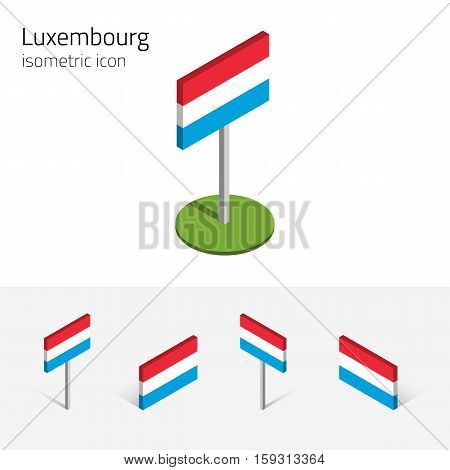 Luxembourgish flag (Grand Duchy of Luxembourg) vector set of isometric flat icons 3D style different views. Editable design elements for banner website presentation infographic poster map