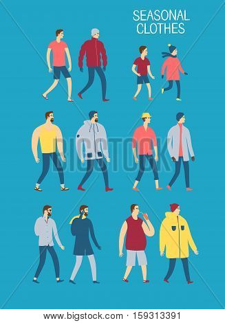 Set of cartoon men in seasonal clothes. Including various lifestyles and ages like businessman teenager child. Characters illustrations for your design.