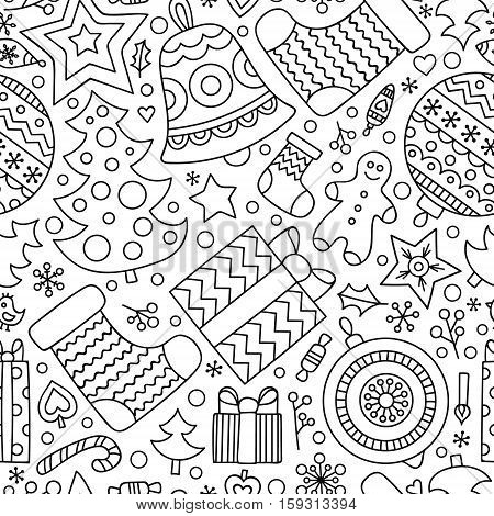 Christmas elements. Vector seamless pattern with winter holiday objects - christmas tree sock gingerbread man present candy star heart ball bell. Christmas coloring page for coloring book. Black and white background.