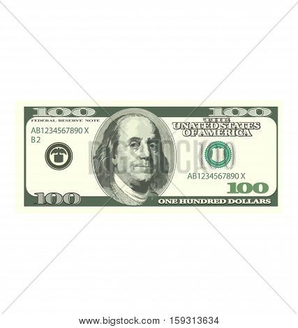Illustration Detailed Dollar Banknote Isolated on White Background, Hundred Denomination - Vector
