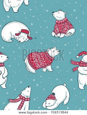 Christmas vector seamless pattern with polar bears in red sweater, scarf and hat. Merry Christmas and happy New Year background