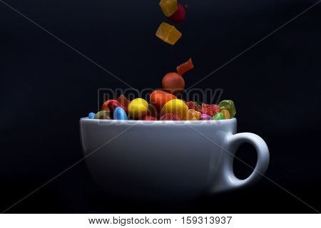 Colorful Dragee With Marmalade Or Jelly Candies