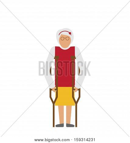 Illustration Older Woman with Crutches. Disability, Elderly, Grandmother. Colorful Icon Isolated on White Background - Vector