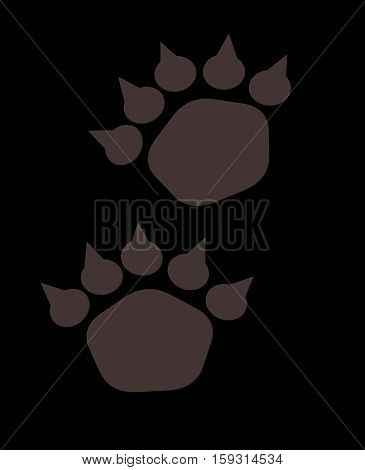 Illustration of bear footstep. Bear trace on a dark background