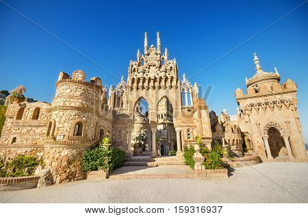 BENALMADENA SPAIN - APRIL 28: Castle monument of Colomares on April 28 2014. Is a monument honoring Cristopher Colombus and the discovery of America. Was built between 1987 and 1994 and It is a combination of several different architechtural styles.