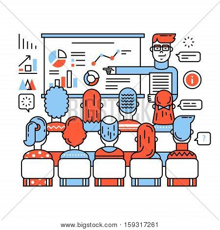 Business class, corporate training or seminar. Young teacher in glasses explaining new social media marketing strategy. Thin line art flat illustration with icons.
