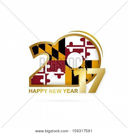 Year 2017 With Maryland State Flag Pattern. Happy New Year Design On White Background.