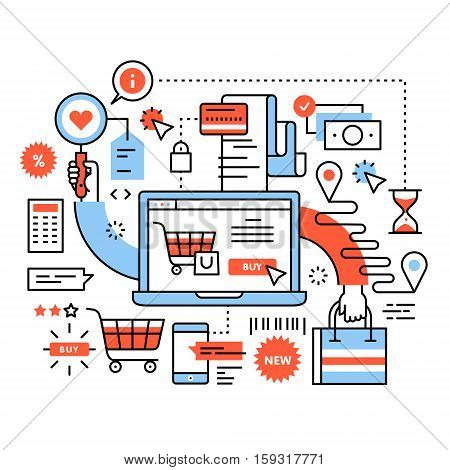 Ecommerce business concept. Purchasing goods in internet store, online shopping cart with products, order delivery and payment. Thin line art flat illustration with icons.