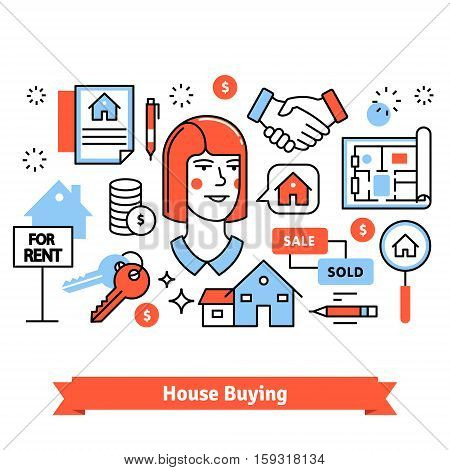 Real estate buying, selling and renting signs background composition. Thin line art icons. Flat style illustrations isolated on white.