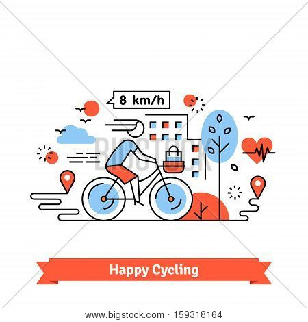 Urban bike path happy cycling woman with a basket on her bicycle. Thin line art icons set. Flat style illustrations isolated on white.