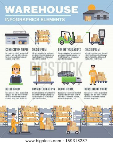 Warehouse infographics flat layout with cargo transport fork lift racks with boxes scales  images and information vector illustration