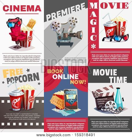 Set of cinema posters with premiere and movie time advertising decorative elements  in retro style vector illustration