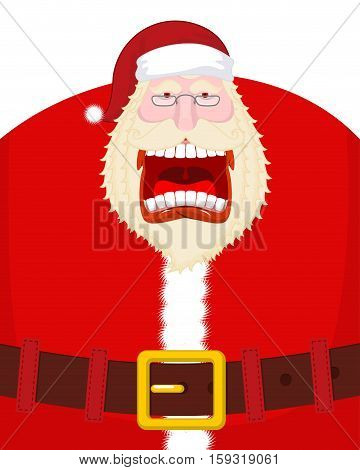 Crazy Santa Shout And Belt. Scary Grandfather Yelling. Open Mouth And Teeth. Angry Santa Claus Shout