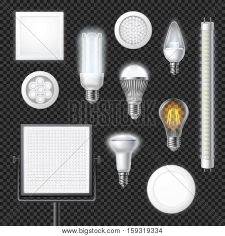 Realistic led lamps of different shape and size set isolated on transparent background vector illustration