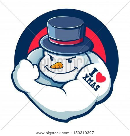 Vector stock of strong snowman with muscle christmas icon