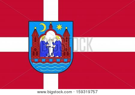 Flag of Aarhus in Central Jutland Region in Denmark. Vector illustration