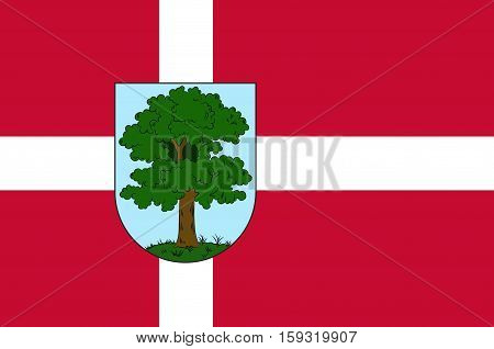 Flag of City Hillerod is located in the north of the island of Zealand north of Copenhagen. Vector illustration