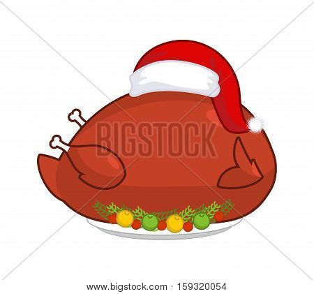 Big Roast Turkey In Santa Claus Cap. Christmas Fowl On Plate With Vegetables. Fried Chicken In Festi