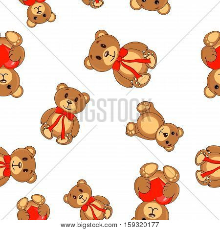 Brown Bears With A Heart In Paws Pattern Seamless Background