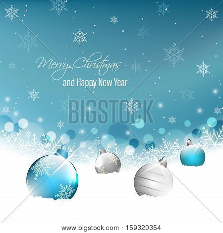 Christmas And New Year Greeting Card With Christmas Baubles On Snow And Snowflakes.