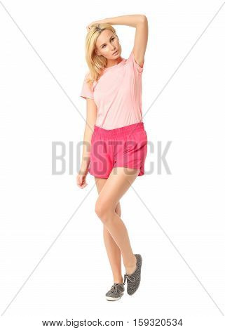 Silhouette Of Beauty Young Blonde In Sport Shorts