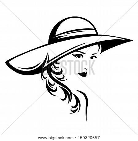 elegant woman wearing hat vector illustration - black and white stylized portrait of a beautiful girl with long hair