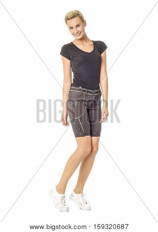 Beautiful Sexual Model Blonde Pose In Breeches