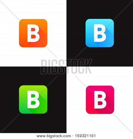 Abstract colorful flat icons set with long shadow. Iconic B letter logo sign vector design.