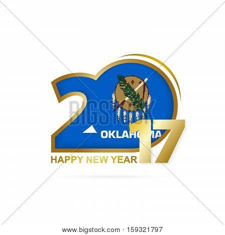 Year 2017 With Oklahoma State Flag Pattern. Happy New Year Design On White Background.