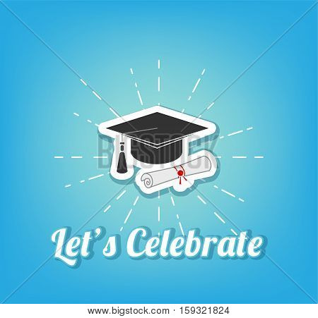Graduate cap, hat. University and Graduation design, vector illustration on blue