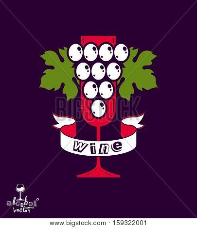 Winery Idea Eps8 Vector Illustration. Elegant Glass Of Wine With Grape Vine And Decorative Ribbon, R