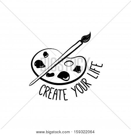 Palette, paint and brush. Doodle Element Scetch. Vector Illustration Isolated On White Background
