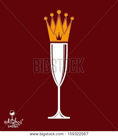 Champagne Glass With Royal Crown, Decorative Goblet Full With Sparkling Wine. Queen Of The Evening C