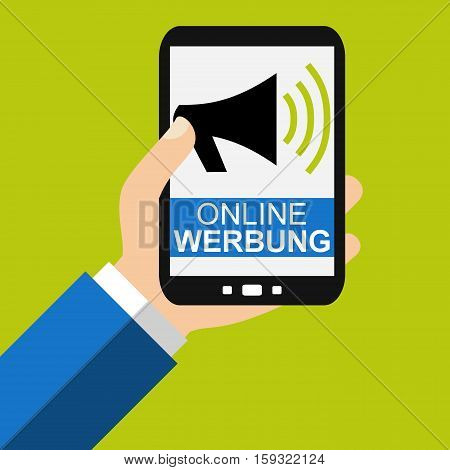 Hand holding Smartphone: Online Advertising in german language - Flat Design