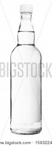 Water in the Simple Glass Bottle isolated on white background