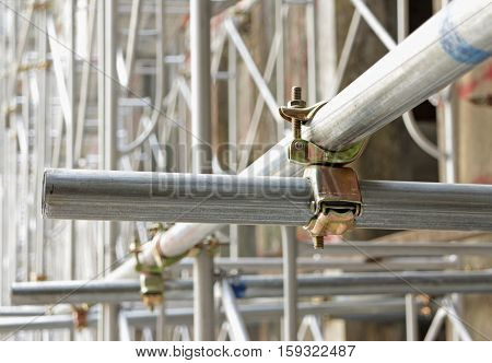 Scaffolding Clamps in used Close up view