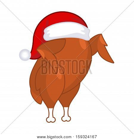 Christmas Turkey In Santa Claus Cap. Roast Fowl On Plate. Fried Chicken In Festive Red Hat. Holiday